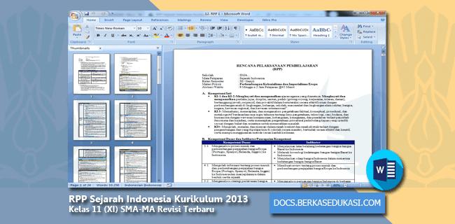 RPP Sejarah Indonesia Kurikulum 2013 Kelas 11 (XI) SMA-MA Revisi Terbaru Tahun 2019-2020