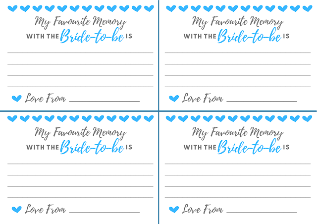 Free printable hen party memory card - in light blue