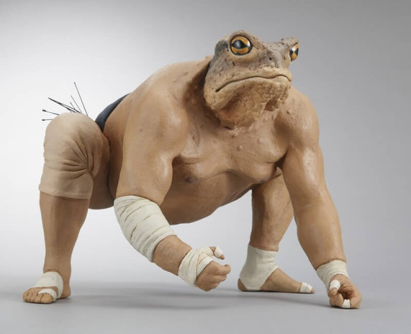 11-Japanese-Sumo-Toad-Alessandro-Gallo-Clay-Sculptures-of-Human-Animal-Hybrids-www-designstack-co