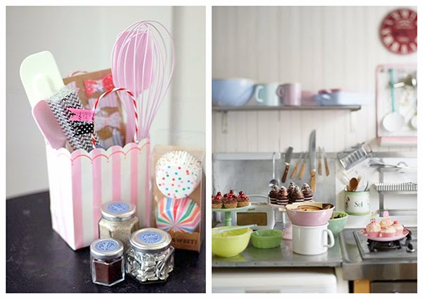 Pastel Kitchen ware and enamel jugs and saucepans from Leilas general store