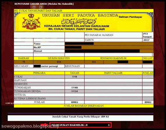 Nama Aku Jodin Semakan Cukai Tanah Pejabat Tanah Galian Negeri Kelantan Secara Online