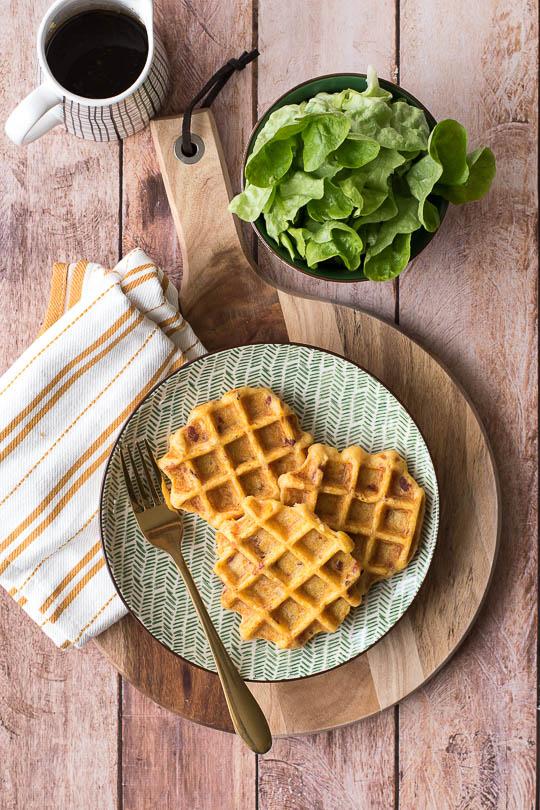 recette Gaufres salées légères potiron lardons