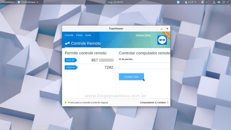 TeamViewer executando no openSUSE Tumbleweed, com ambiente de desktop GNOME
