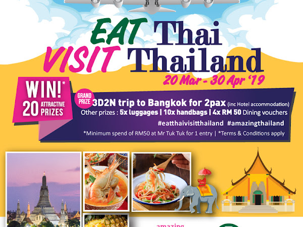 Eat at Mr Tuk Tuk and Stand A Chance to Win Prizes - Including a Free Trip to Bangkok for 2 person plus 3 days 2 nights hotel stays