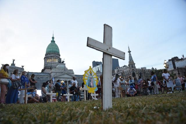 Manifestação pela vida em frente ao Congresso Nacional, Buenos Aires