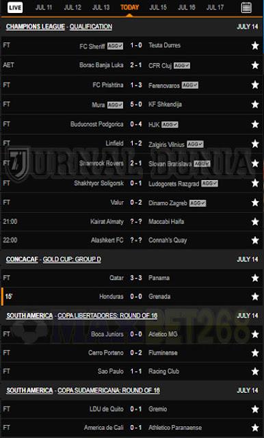 Hasil Pertandingan Sepakbola Tadi Malam, Selasa Tanggal 13 - 14 July  2021