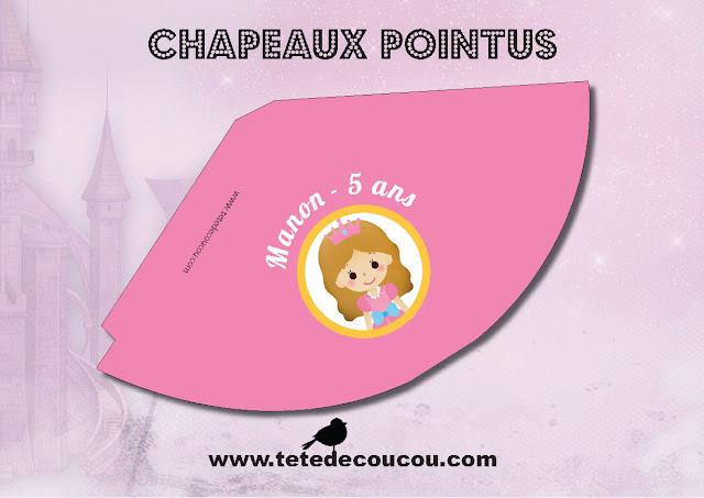 Chapeau Pointu Kit anniversaire personnalisé princesse fille rose à imprimer tête de coucou