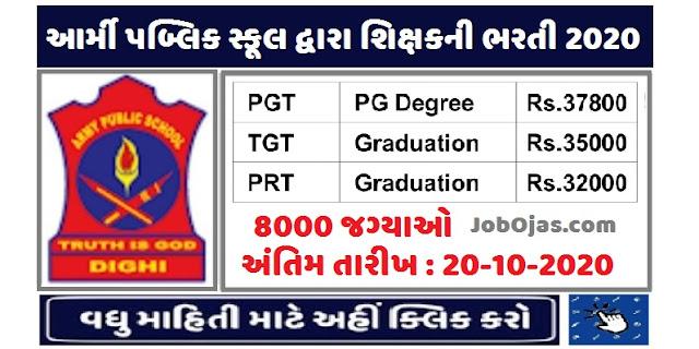 Army Public School Recruitment 2020 for PGT / TGT / PRT 8000 Posts