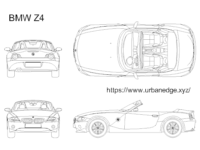 BMW Z4 roadster car cad block free download