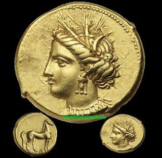 ستاتر ذهب ضرب قرطاج سنة 320ق م  3