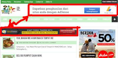 Iklan Google Adsense Youtube di Blog Mang Yono dah tampil