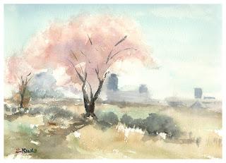 桜スケッチ 花見川 千葉市