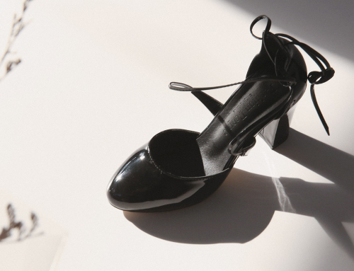 Glossy Strappy Block-Heeled Pumps