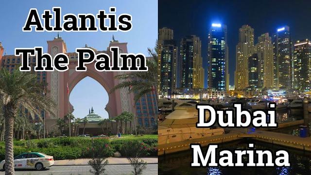 Atlantis the Palm e Dubai Marina à noite
