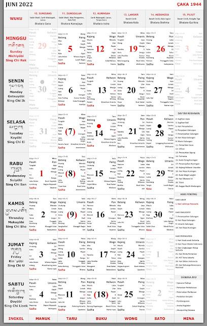 Kalender Bali Juni 2022 Lengkap