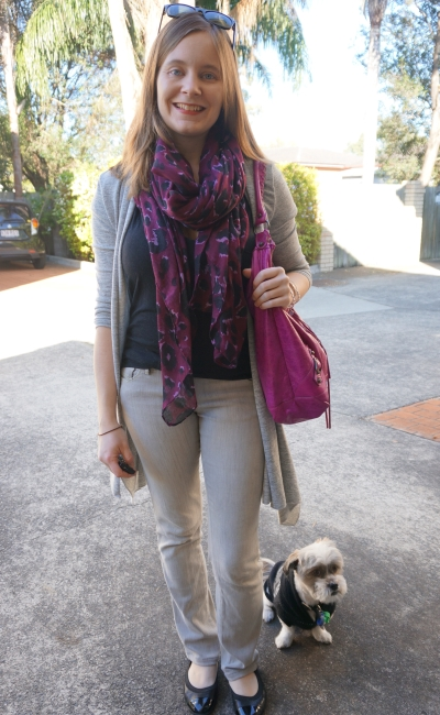 Purple leopard print scarf and pink hobo bag jeans and tee SAHM winter style | Away From Blue