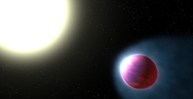 This is an artist's impression of the gas giant exoplanet WASP-121b. The bloated planet is so close to its star that the tidal pull of the star stretches it into an egg shape. The top of the planet's atmosphere is heated to a blazing 4,600 degrees Fahrenheit (2,500 degrees Celsius), hot enough to boil iron. This is the first planet outside our solar system where astronomers have found the strongest evidence yet for a stratosphere — a layer of atmosphere in which temperature increases with higher altitudes. The planet is about 900 light-years away. Credit: NASA, ESA, and G. Bacon (STScI)