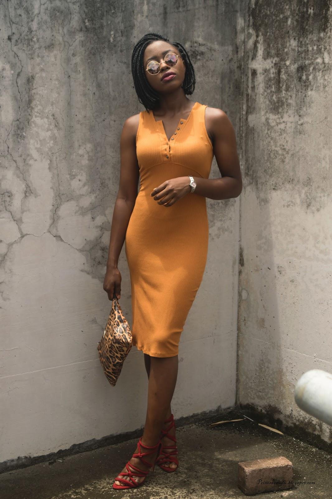 Mustard pencil dress,  body con dress, side slit,  Jersey dress,  colour blocking