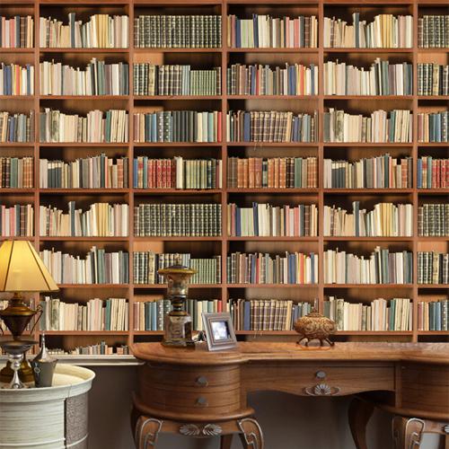 tapet böcker bokhylla fototapet 3d