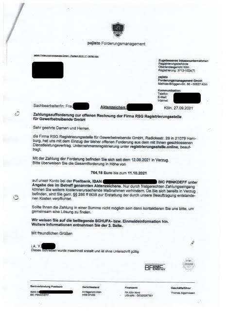 Scan: Forderung von Pajisto Forderungsmanagement GmbH // Sep 2021