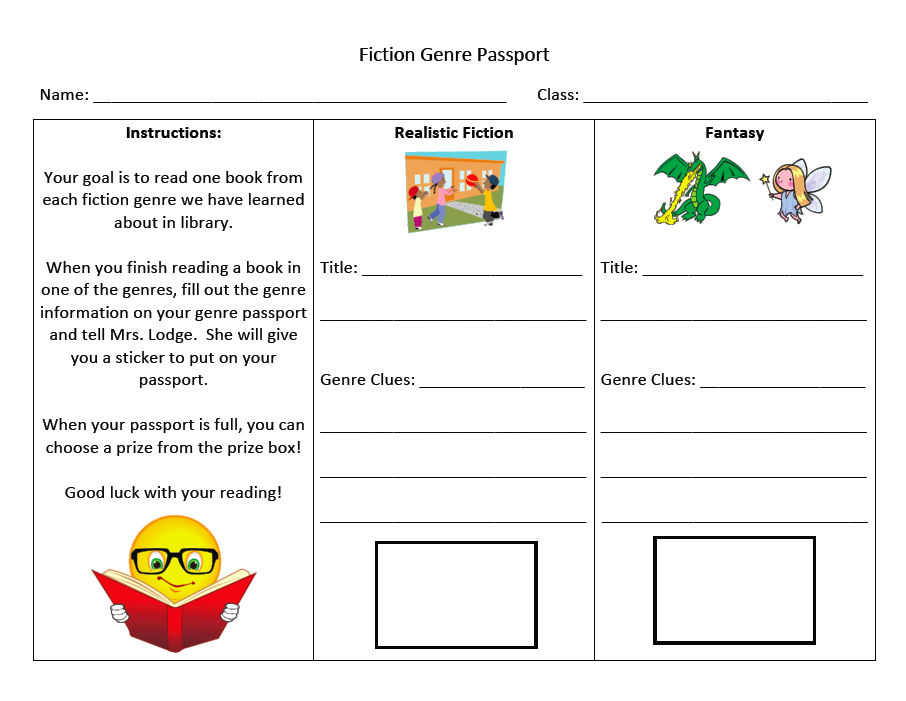 fun passport template - fiction genre reading program mrs lodge 39 s library