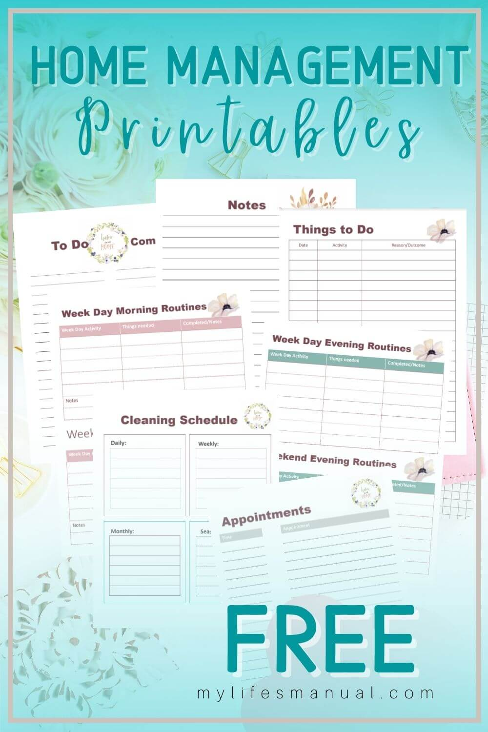Grab these free home management printables. You'll get pretty printable planner for home cleaning schedule, to-do list, appointments, and routines