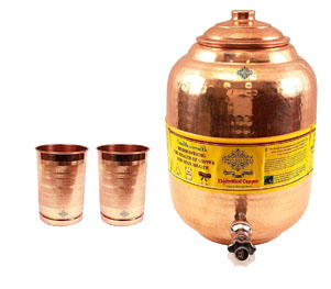 Indian Art Villa Pure Copper Water Dispenser Container