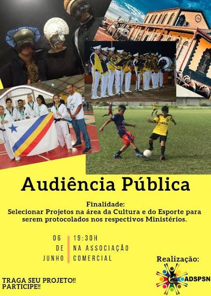 Audiência Pública voltada a projetos na área da cultura e do esporte acontece hoje
