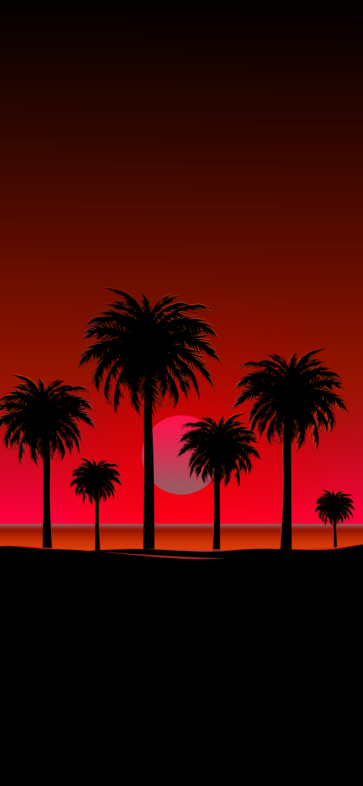 Beach sunset with palm silhouettes amoled oled black wallpaper background iphone new android