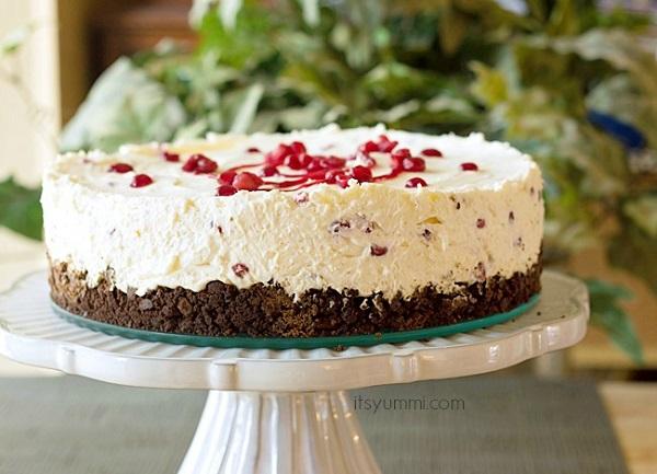 pomegranate no bake whpped cream cheesecake