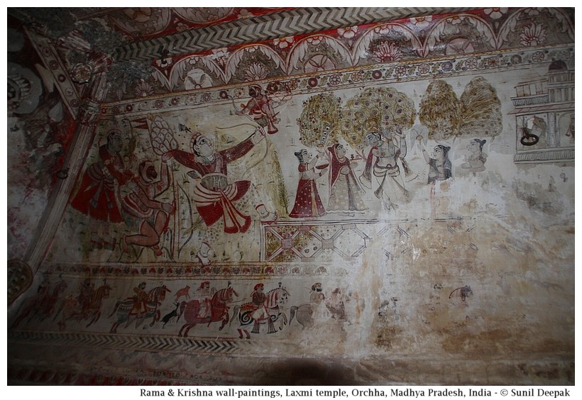 Rama & Krishna wall-paintings, Laxmi temple, Orchha, Madhya Pradesh, India - Images by Sunil Deepak