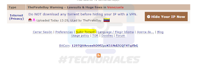 Cargar torrent en thepiratebay