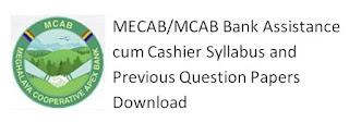 MECAB/MCAB Bank Assistance cum Cashier Syllabus and Previous Question Papers