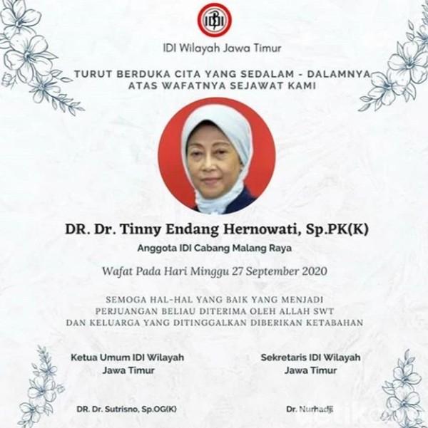 Dokter Ahli Patologi di Malang Meninggal Terpapar COVID-19