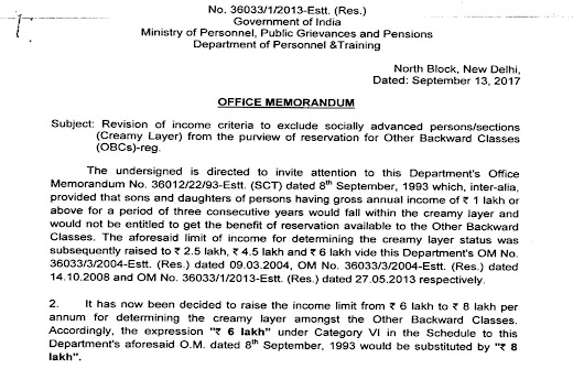 DOPT ORDER – Revision of Income limit from 6 to 8 lac for determining the creamy layer amongst the OBC