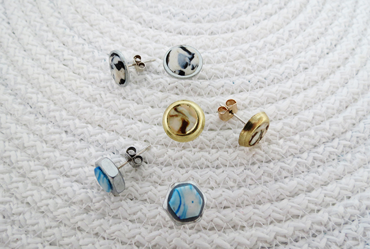 DIY earrings with washers and nuts