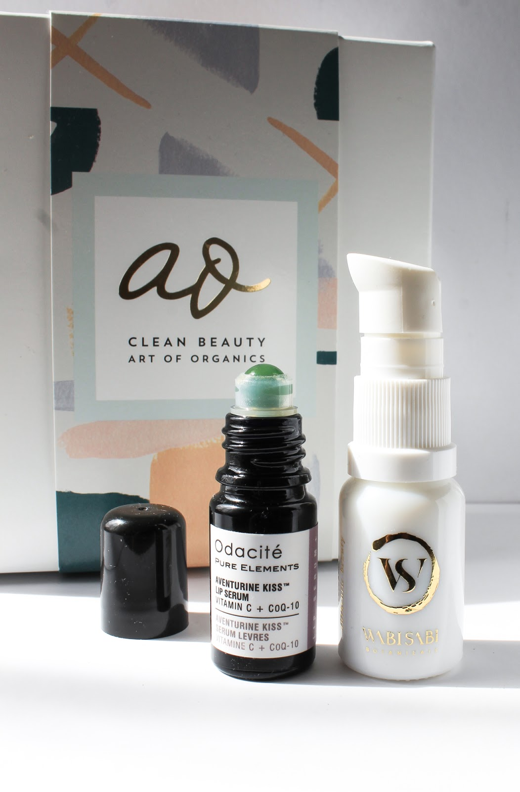 September Art of Organics Clean Beauty Box EMBRACE, Odacite Aventurine Kiss Lip Serum, Wabi-Sabi Botanicals Age Gracefully