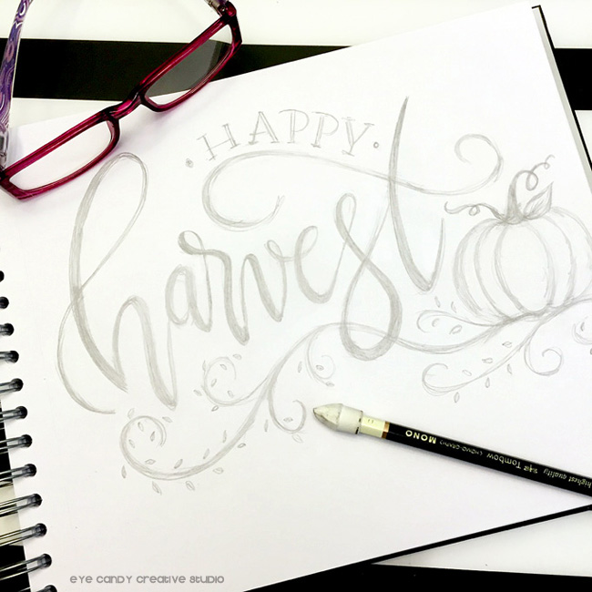 sketchbook art, art pencils, sketchbook, illustrator, happy harvest, hand lettered
