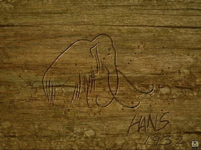 на деревянной балке изображение мамонта в игре сибирь