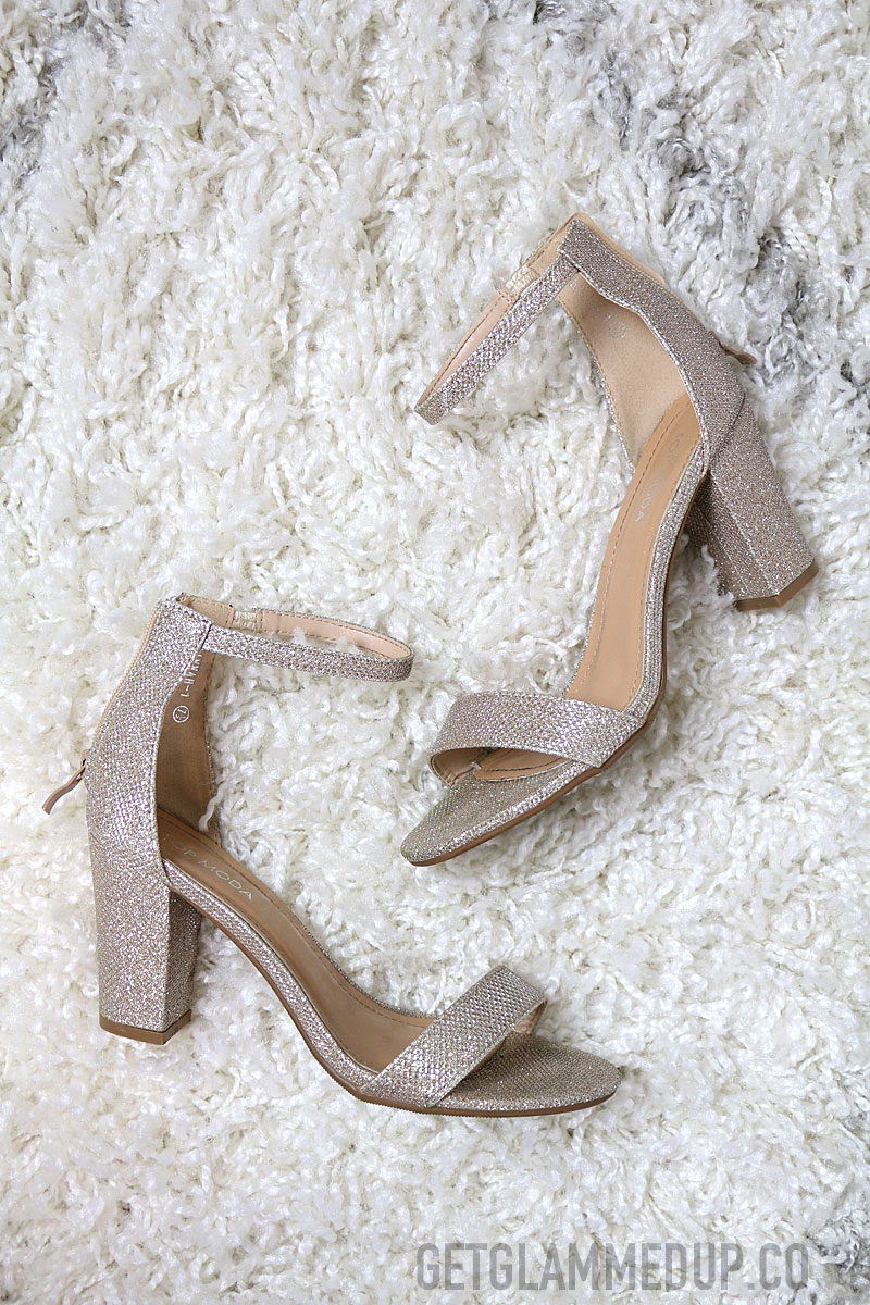 Affordable bridal shoes, champagne block heel sandals