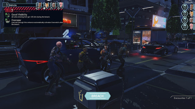 Screenshot from XCOM: Chimera Squad of squad about to breach