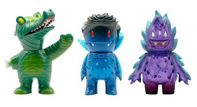 Green Mummy Gator, Dark Blue Rose Vampire & Clear Purple Honoo by Super7