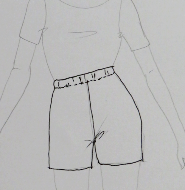 Ilustración short con elástico en la cintura una vez confeccionado