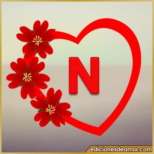 corazón de flores con letra N