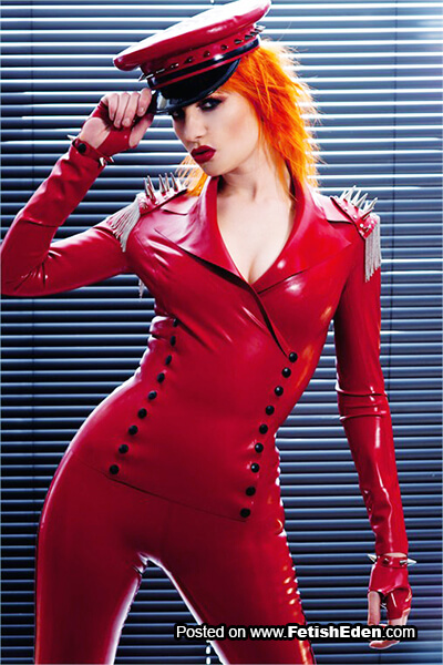 Ulorin Vex orange hair and hot red latex catsuit
