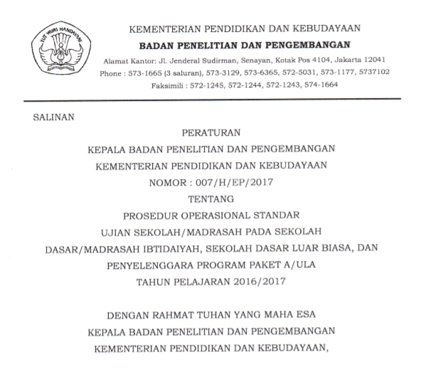 Prosedur Operasional Standar Ujian Sekolah/Madrasah Tahun 2016/2017