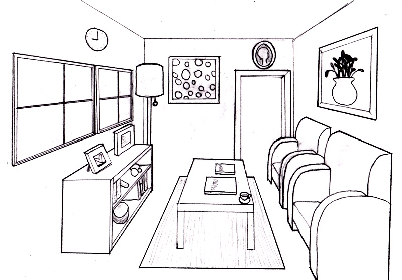 Drawing 1 one point perspective - How to draw a living room in perspective ...