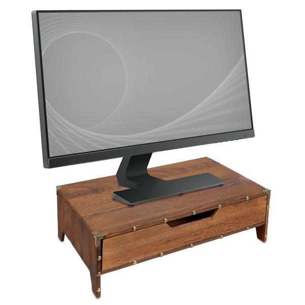 Shop Wooden Monitor Stand Computer Riser with Drawer at NileCorp.com