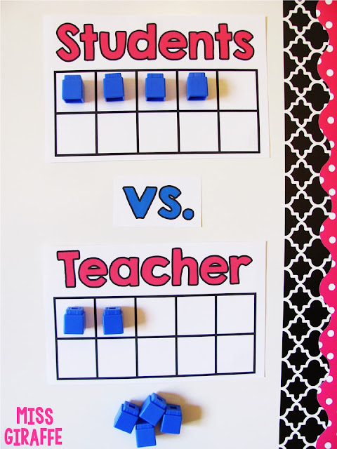 25 Classroom Management Strategies to keep a chatty class quiet - I love this idea of using 10 frames on the whiteboard to play Students vs. Teacher! Lots of tips - save this!