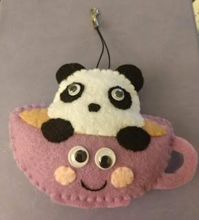 Felt Ornament of panda in a purple teacup